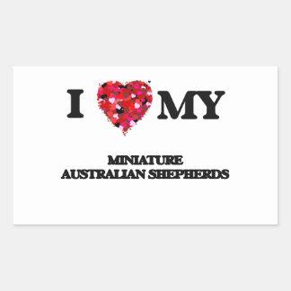 Amo a mis pastores australianos miniatura pegatina rectangular
