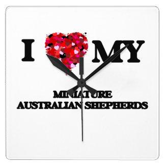 Amo a mis pastores australianos miniatura reloj cuadrado