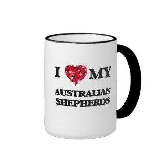 Amo a mis pastores australianos taza de dos colores