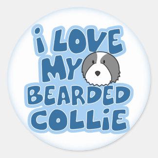 Amo a mis pegatinas barbudos del collie etiqueta redonda
