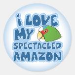 Amo a mis pegatinas con gafas del Amazonas Pegatina Redonda