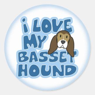 Amo a mis pegatinas de Basset Hound Pegatina Redonda