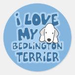 Amo a mis pegatinas de Bedlington Terrier Pegatinas Redondas