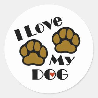 Amo a mis pegatinas del perro etiquetas redondas