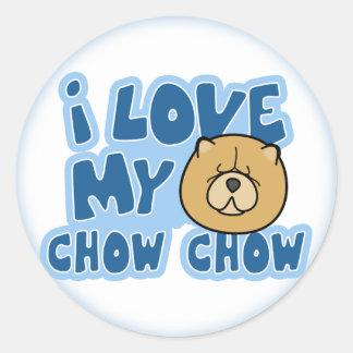 Amo a mis pegatinas del perro chino de perro chino pegatina redonda