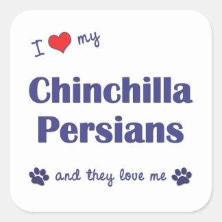 Amo a mis persas de la chinchilla (los gatos calcomanías cuadradases