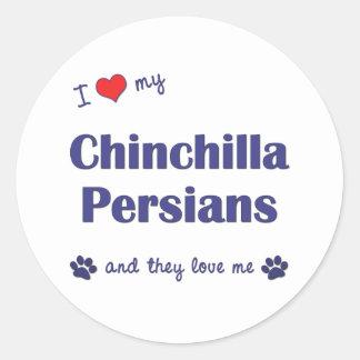 Amo a mis persas de la chinchilla (los gatos pegatina redonda