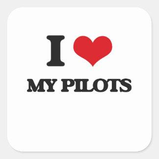 Amo a mis pilotos pegatina cuadradas
