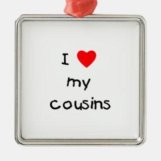 Amo a mis primos adorno cuadrado plateado