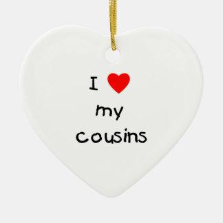 Amo a mis primos adorno de cerámica en forma de corazón