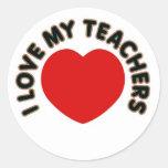 Amo a mis profesores (el corazón grande) pegatinas redondas