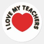 Amo a mis profesores (el corazón grande) etiquetas redondas