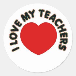 Amo a mis profesores (el corazón grande) pegatina redonda