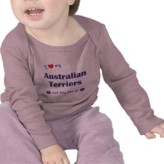 Amo a mis terrieres australianos los perros múlti camisetas