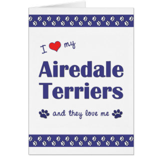 Amo a mis terrieres de Airedale (los perros múltip Tarjeta Pequeña
