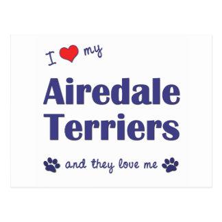 Amo a mis terrieres de Airedale (los perros Postal