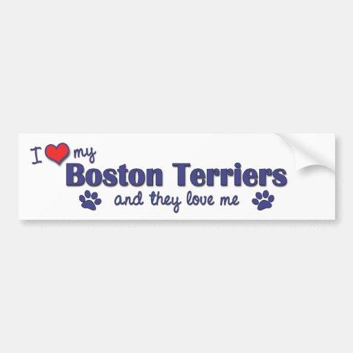 Amo a mis terrieres de Boston (los perros múltiple Etiqueta De Parachoque