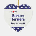 Amo a mis terrieres de Boston (los perros múltiple Ornato