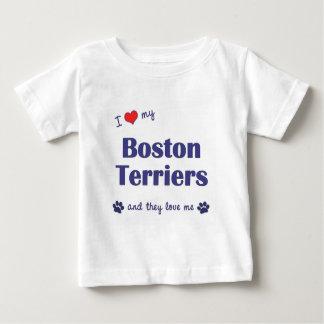 Amo a mis terrieres de Boston (los perros Playera De Bebé