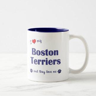 Amo a mis terrieres de Boston (los perros Taza De Dos Tonos