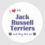 Amo a mis terrieres de Jack Russell (los perros mú Etiqueta Redonda