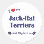 Amo a mis terrieres de la Jack-Rata (los perros Pegatina Redonda
