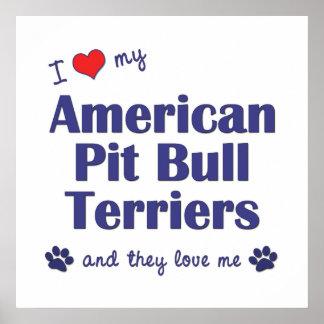 Amo a mis terrieres de pitbull americanos (los per impresiones