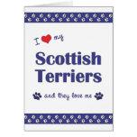 Amo a mis terrieres escoceses (los perros múltiple felicitación
