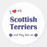 Amo a mis terrieres escoceses (los perros etiquetas redondas