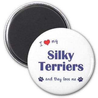 Amo a mis terrieres sedosos (los perros múltiples) iman de frigorífico