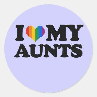 Amo a mis tías pegatina redonda