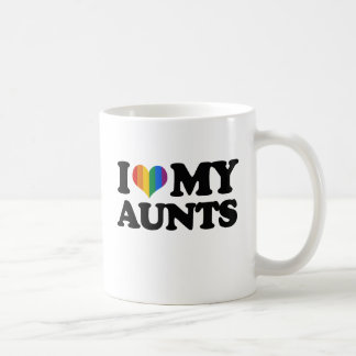 Amo a mis tías taza básica blanca