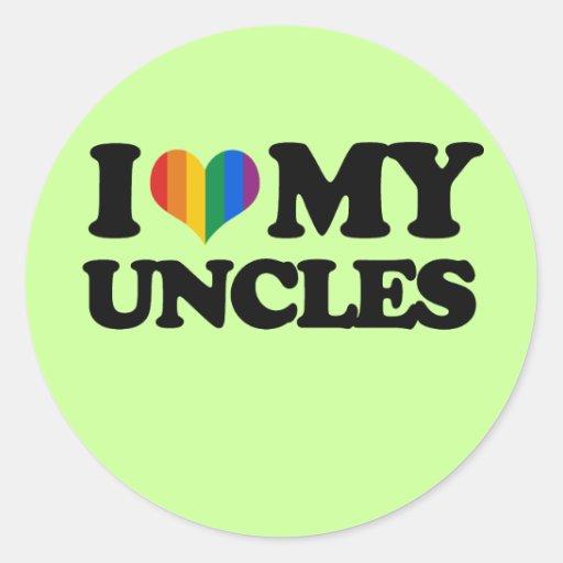 Amo a mis tíos pegatina redonda