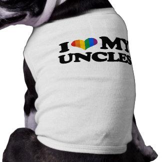 Amo a mis tíos playera sin mangas para perro