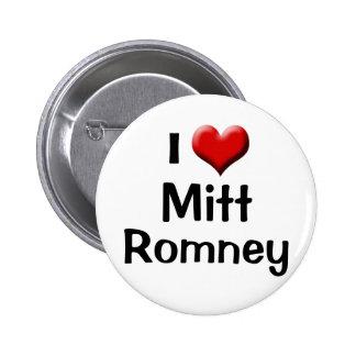 Amo a Mitt Romney, botón rojo del corazón Pin Redondo De 2 Pulgadas