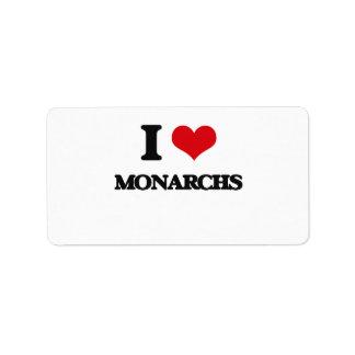 Amo a monarcas etiquetas de dirección