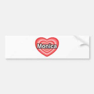 Amo a Mónica. Te amo Mónica. Corazón Etiqueta De Parachoque