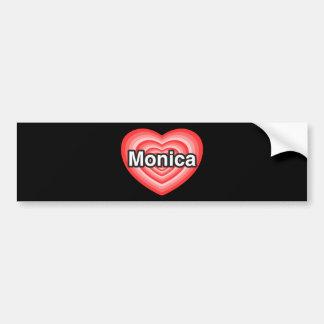 Amo a Mónica. Te amo Mónica. Corazón Pegatina De Parachoque