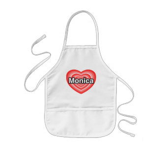 Amo a Mónica. Te amo Mónica. Corazón Delantal