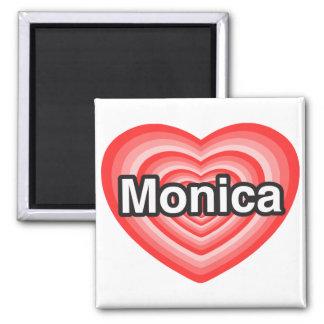 Amo a Mónica. Te amo Mónica. Corazón Imán Cuadrado