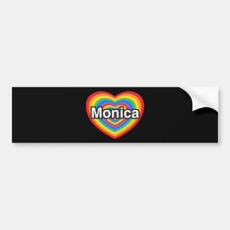 Amo a Mónica. Te amo Mónica. Corazón Pegatina Para Auto