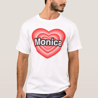 Amo a Mónica. Te amo Mónica. Corazón Playera