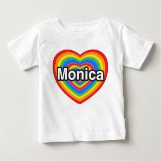 Amo a Mónica. Te amo Mónica. Corazón Playera De Bebé