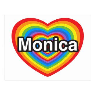 Amo a Mónica. Te amo Mónica. Corazón Postal