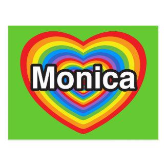 Amo a Mónica. Te amo Mónica. Corazón Tarjetas Postales