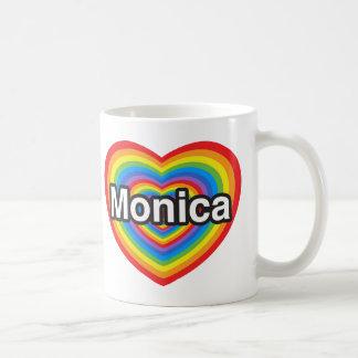 Amo a Mónica. Te amo Mónica. Corazón Tazas