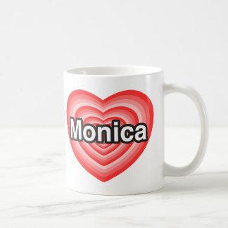 Amo a Mónica. Te amo Mónica. Corazón Taza De Café