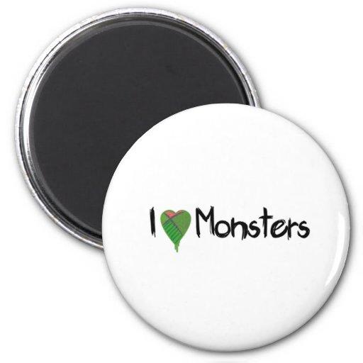 Amo a monstruos imán redondo 5 cm