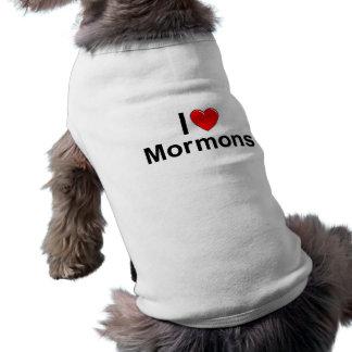Amo a mormones del corazón camisetas mascota