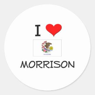 Amo a MORRISON Illinois Pegatina Redonda